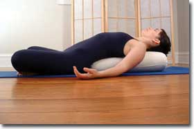 Yoga Bolster in use