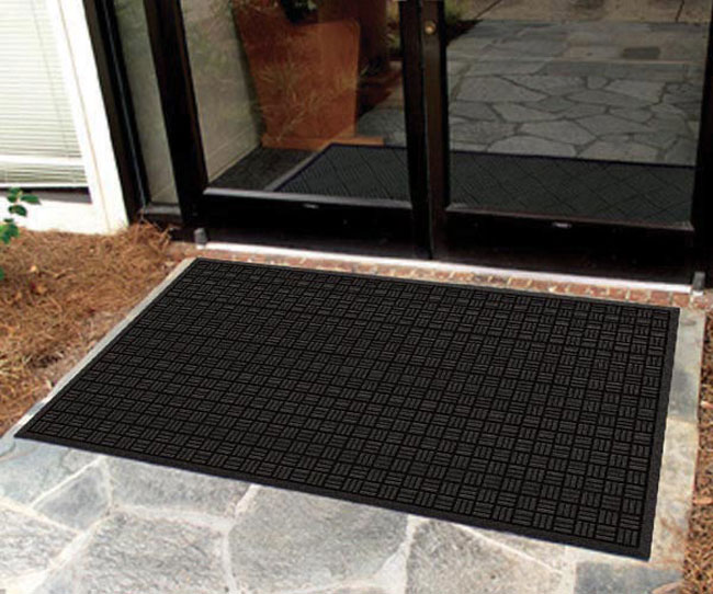 Outdoor Door Mat | Recycled Rubber Mat & Recycled Rubber Outdoor Entrance Mat with Parquet Top