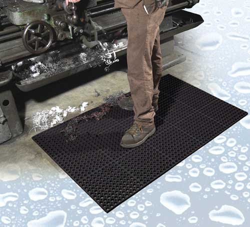 Modular Drainage Mat for Wet or Greasy Work Areas