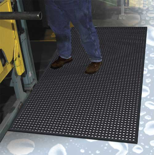 Work-Step Commercial Kitchen Drainage Mat with Beveled Edges
