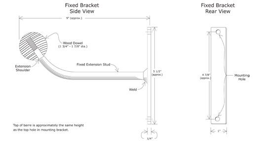 Fixed Bracket Ballet Barre