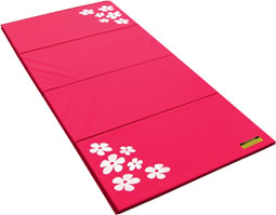 Pink Tumbling Mat with White Flower Design