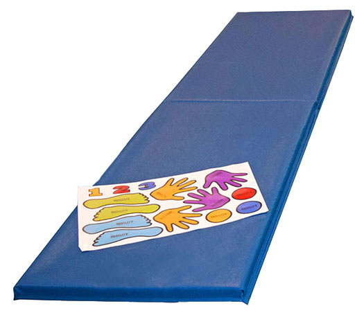 Gymnastics Skill Helper Mat With Hand And Foot Position Decals