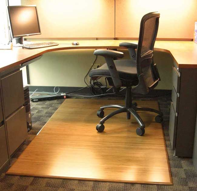 Enlarge & Bamboo Chair Mat For Office Carpet or Wood Floors