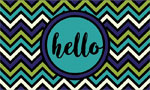 Rubber Door Mat - Hello Chevron Blue Green
