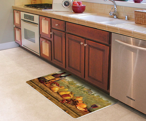 decorative kitchen floor mat for sink or stove - stain proof.