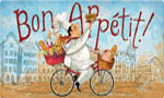 Colorful Kitchen Mat: Chef on a Bike