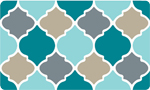 Decor Foam Kitchen Mat: Quatrefoil - Blue Tan