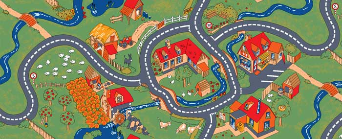 Farm Play Carpet   Kids Play Rug For Home Or Preschool