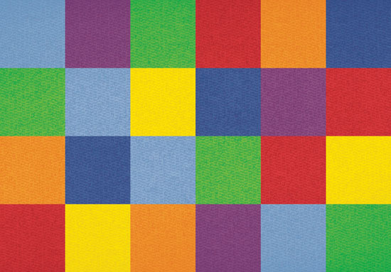 Kids Learning Rugs Colorful Grid