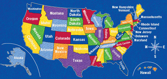 United States Rug Roselawnlutheran Us Map For Children
