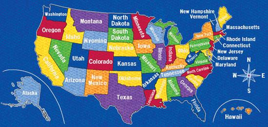Educational Carpets Large Rectangular Classroom Rugs - Map of us kids