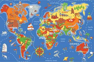 World Map Rug, World Map Mats, World Map Carpet: Where In The World