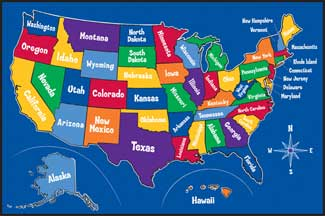 Map of USA Rug, Geography Rugs, US Map Rug With All 50 States