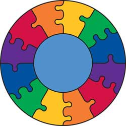 Rainbow Rugs, Rainbow Carpet, Puzzle Rugs, Round Kids Rugs: Puzzle Rainbow
