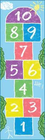 Hopscotch Game Rug: Pastel Rainbow Hop