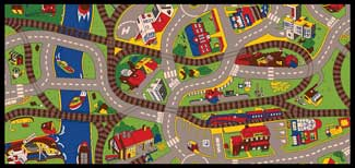 Train Play Mat - Train Play Rug: Ride The Train