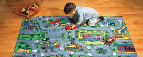 Construction Play Carpet Transportation Rug Airport Playmat Airplane Mat Train