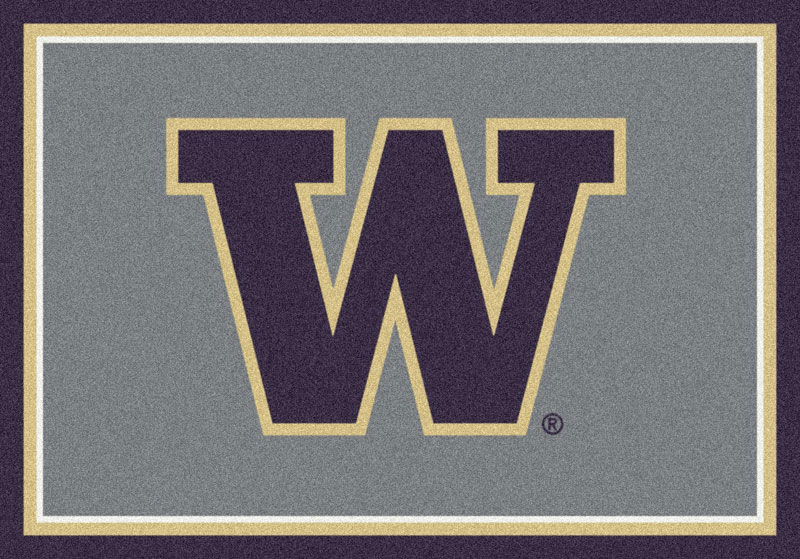 Area Rug With Washington Huskies Sports Team Logo