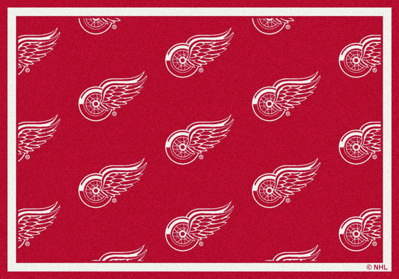 Area Rug With Detroit Redwings Sports
